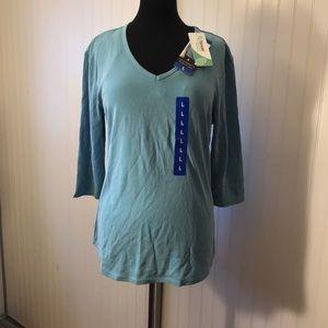 Seg'ments Delphinium Blue Tencel 3/4 Sleeve Shirt